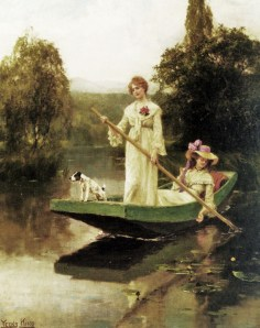Women dressed in flowing summer frocks pole a flat boat on a river.