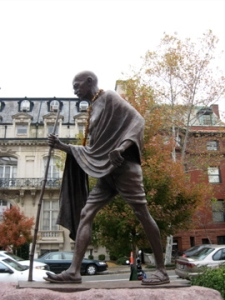 Statue of Mahatma Ghandi in walking mode installed adjacent to Embassy Row -  Massachusetts Ave. NW near Dupont Circle.