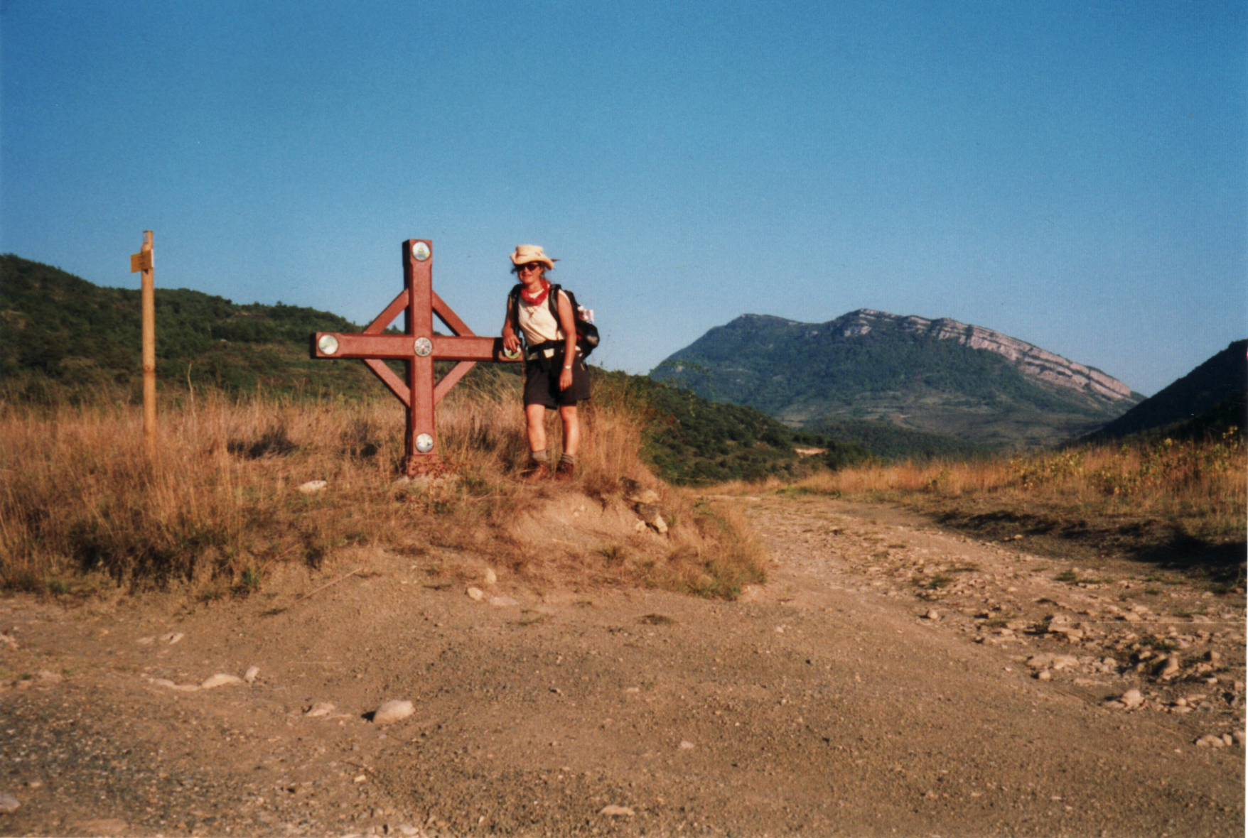 Author near pilgrimage cross in Rousillion_Pyrenees0002